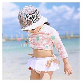 長袖女孩泳裝 寶寶泳衣 女童可愛點點分體裙式 嬰兒遊泳衣