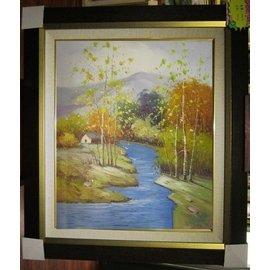 ~府城畫廊~手繪油畫~風景畫~筆法細膩~畫風獨特~70x80~^(含框價^)^~ 數千張油
