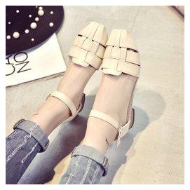 2016 編織方頭套腳平底羅馬涼鞋復古鏤空平跟鞋女鞋甜美學生鞋