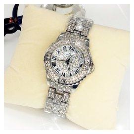 正品 滿天星手表女奢華水鑽鋼帶手表 羅馬字水晶時裝表超閃