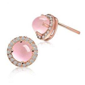 天然粉色水晶925純銀鍍玫瑰金耳環鑽石耳釘女氣質韓國耳針防過敏