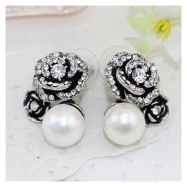 多省 奢戀復古玫瑰花朵鋯鑽石耳釘 淑女氣質珍珠晚宴名媛耳環