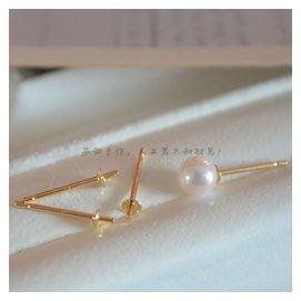 美國 14純金 半孔珍珠插針耳釘耳針耳環14金