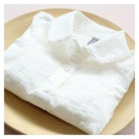 女童白襯衫長袖 2016  兒童純棉刺繡蕾絲邊翻領襯衣打底衫