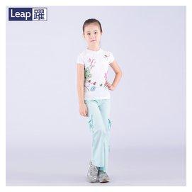 2016中大女童夏褲薄長褲袋袋褲九分褲寬松直筒翻邊七分純棉6~12歲