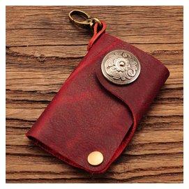 原創純 真皮鑰匙包男 復古個青年女式大容量頭層牛皮鑰匙包