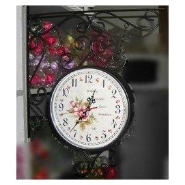 !雙面鐘 鐘錶 雙面掛鐘 歐式 鐵藝掛鐘 田園雙面  黑色 白色 風時鐘挂鐘鐘錶時間 色