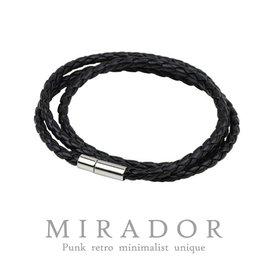 ~Mirador~多層皮繩編織 簡約  情侶 真皮手鍊 手環 黑色 100^%純 製作