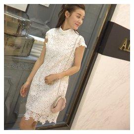 短袖修身白色禮服中裙復古鏤空蕾絲改良旗袍連衣裙中長款裙子夏女