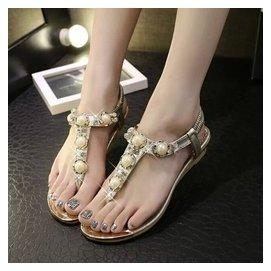 涼鞋女平底 金色水鑽平跟低跟真皮人字夾趾夾腳涼鞋女鞋潮
