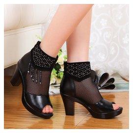 真皮羅馬魚嘴網靴中跟女士涼鞋粗跟女鞋子高跟中年媽媽鞋