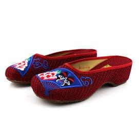 老布鞋女鞋春 新品舒適 方頭透氣亞麻女式坡跟繡花拖鞋