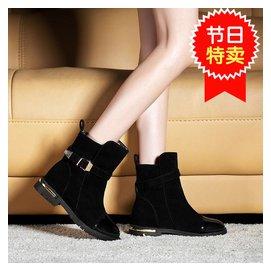 15黃色側拉鏈春秋款真皮中靴高跟英倫中筒靴馬靴粗跟靴大碼女