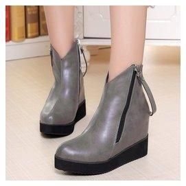女鞋靴子秋 中筒靴女士皮靴中靴中跟真皮增高顯瘦大碼女靴