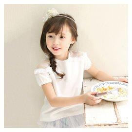 船鼠 女童t恤夏裝兒童短袖上衣露肩網紗圓領 女寶寶純棉T恤