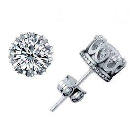 男款耳釘純銀耳飾女正品925銀飾耳環鍍白金鑲鑽情侶 皇冠耳釘