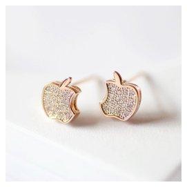 晴雨銀時代925純銀鍍白金玫瑰金金鑲鑽女士蘋果耳環耳釘平安果