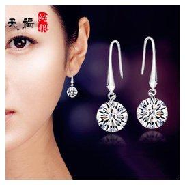 925純銀耳環女簡約單鑽水晶鑲鑽鍍白金耳釘耳墜 防過敏耳飾品