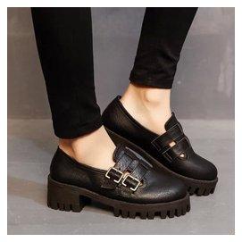 圓頭粗跟單鞋女中高跟厚底松糕鞋復古英倫風 女鞋子