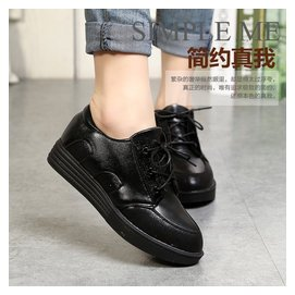 女鞋春款 潮 少女學生鞋子內增高單鞋女中跟松糕底厚底圓頭
