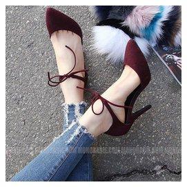 高跟鞋尖頭鏤空細跟單鞋淺口繫帶感夜店女中跟涼鞋鞋子