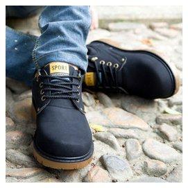 智途英倫 鞋男工裝鞋大頭鞋繫帶圓頭復古男鞋 潮流板鞋子 黑色 39碼