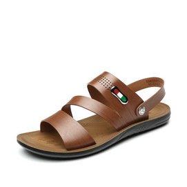 意爾康男鞋 2015 男士日常 沙灘鞋 純色簡約大碼涼鞋 棕色 41