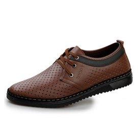 . 真皮正品男涼鞋透氣男士涼皮鞋洞洞鞋軟底牛皮中老年爸爸鞋男2205 棕色 44