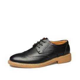 米斯康布洛克雕花男鞋 真皮透氣英倫 皮鞋男巴洛克復古單鞋 秋9192 黑色 44