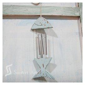 藍色風鈴鈴鐺魚形貝殼 地中海繫列工藝房間吊件掛飾