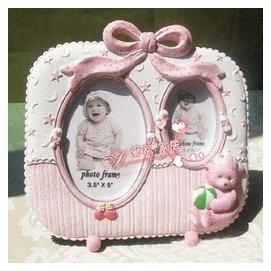五5寸像相框相架嬰兒童卡通粉色雙人照相像框桌面擺台立式