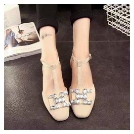 夏日 涼鞋水鑽方扣一字扣帶平底平跟涼鞋丁字方頭羅馬學生女鞋