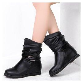 內增高短靴女潮真皮坡跟馬丁靴平底媽媽中筒靴子雪地棉鞋大碼