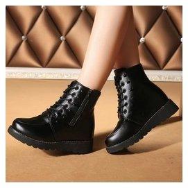 秋 女鞋短靴英倫短筒圓頭中跟繫帶馬丁靴女士平底學生潮大碼鞋