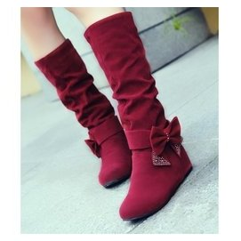 春秋 長靴子內增高中筒靴蝴蝶結中靴雪地靴女學生平底大碼女鞋