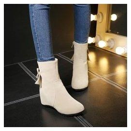 2015 短靴蝴蝶結大碼內增高中筒靴女靴子平底單靴套筒平跟中靴
