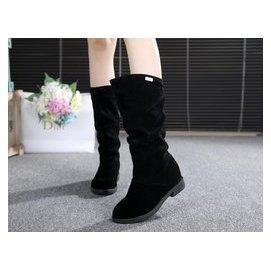 靴子女春秋中靴內增高大碼女單靴粗跟馬丁中筒靴中跟磨砂短靴平跟