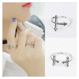 唯酷925銀戒指環 泰銀小指戒尾戒子 復古十字架潮人女生飾品