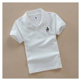 男童夏裝純白色大童T恤女童短袖T恤兒童翻領純棉半袖polo衫