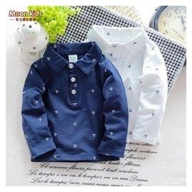 寶寶長袖打底衫春秋嬰兒 POLO純棉上衣男童翻領T恤白1~2~3歲0