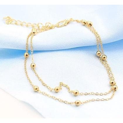 ^~日韓 館 雙層鏈條珠子腳鍊 外貿飾品  女款 腳環 韓國新品 飾品 韓風潮流首飾 珠珠
