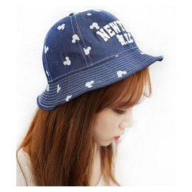 字母女式漁夫帽夏天女士盆帽太陽帽遮陽帆布純棉牛仔布潮