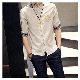 2016春款男士中國風刺繡亞麻襯衫加大碼七分袖復古修身亞麻襯衫潮