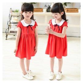 女童短袖連衣裙兒童夏裝純棉公主裙中小童小女孩寶寶紅色裙子