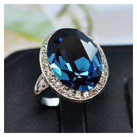 復古鍍純銀誇張氣質水晶鑽石藍寶石女時裝走秀指環戒指