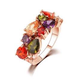 東南亞特色七彩色水晶鋯石繫列女戒奢華晚宴戒指 情人節