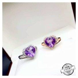 天然紫水晶戒指925純銀鍍白金玫瑰金日韓 女士飾品開口學生