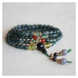 水草瑪瑙手鏈 純天然水晶108顆佛珠項鏈 透綠冰種 極品女款翡翠綠