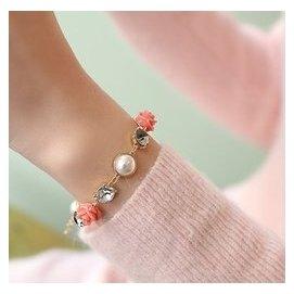 韓國 正品名媛甜美亞克力玫瑰花小花朵水晶鑲鑽手鏈兩色