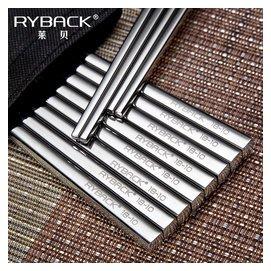 萊貝 304不鏽鋼筷子家用防滑韓式全方形筷子餐具套裝合金屬5 10雙
